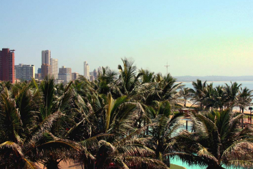 Beachfront with palms in Durban